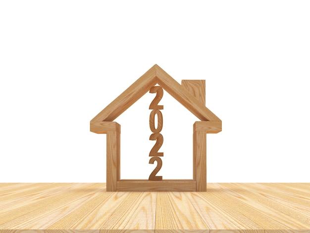 Holzhaus-symbol mit der zahl neujahr im inneren