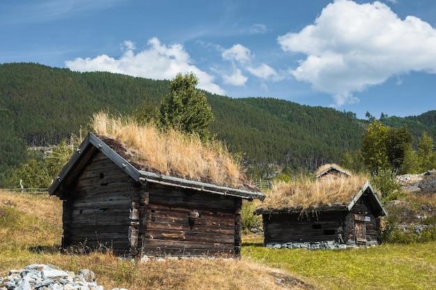 Holzhütten des alten fischers im ethnischen park, norwegen.