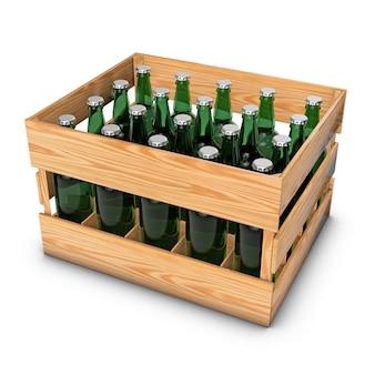 Holzkiste mit flaschen