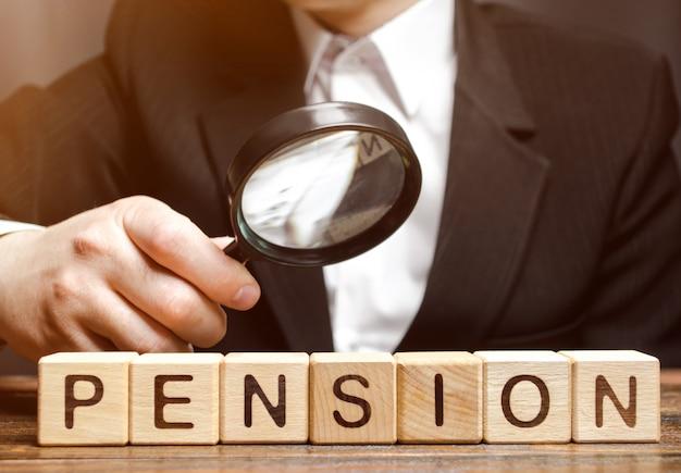 Holzklötze mit dem wort pension