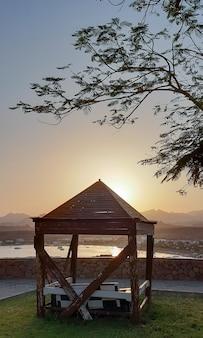 Holzlaube auf dem gras am meer unter einem baum auf einem hintergrund von himmel und sonne