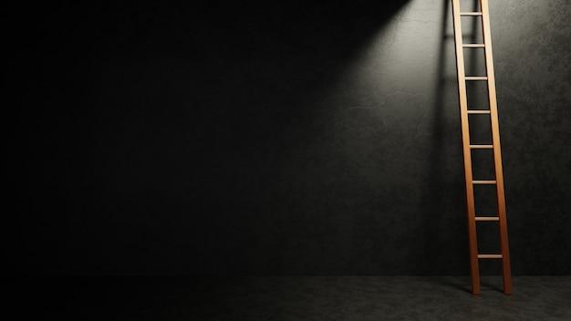 Holzleiter in dunkelgrauem betonraum, der zum licht führt. freiheit konzept. 3d-render-illustration.