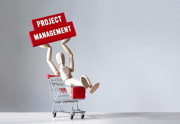 Holzmann halten einen holzblock mit wort projektmanagement, konzept