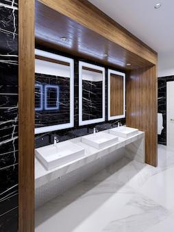 Holznische mit spiegeln, lichtern und waschbecken an der wand aus schwarzem marmor in einer öffentlichen toilette. 3d-rendering