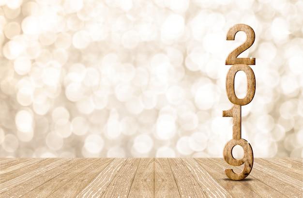 Holznummer des glücklichen jahres 2019 im perspektivenraum mit funkelndem bokeh wand
