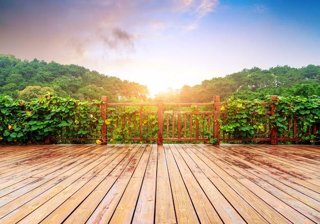 Holzplattform und üppige pflanzen