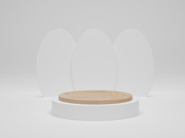 Holzpodest auf weißem hintergrund. mock-up für die ausstellung von kosmetischen produkten. abstrakte minimale szene mit geometrischen formen. 3d-rendering