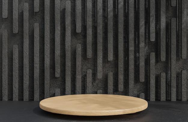 Holzpodest für die produktpräsentation auf steinmauerhintergrund im luxusstil., 3d-modell und illustration.