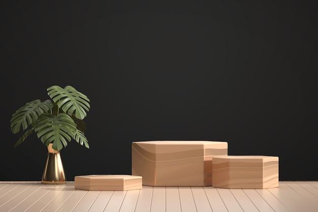 Holzpodest für produktanzeige-schaufenster mit monstera-topfdekorations-3d-darstellung