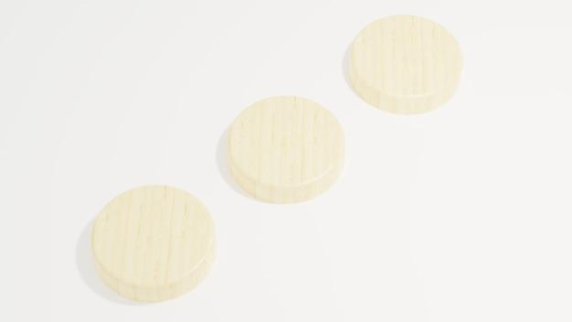 Holzpodest minimalistisch auf weißem hintergrund 3d-darstellung, die moderne einfache minimalistische wiedergabe macht