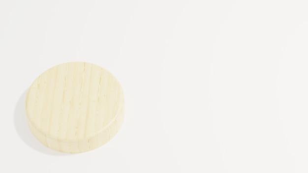 Holzpodest minimalistisch auf weißem hintergrund 3d-darstellung für das flyer-poster-geschäft