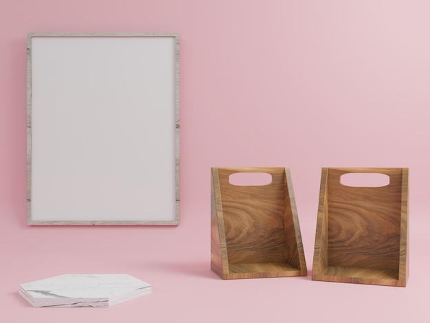 Holzpodest und marmorpodest, platzierte produkte mit bilderrahmen mit rosa hintergrund.