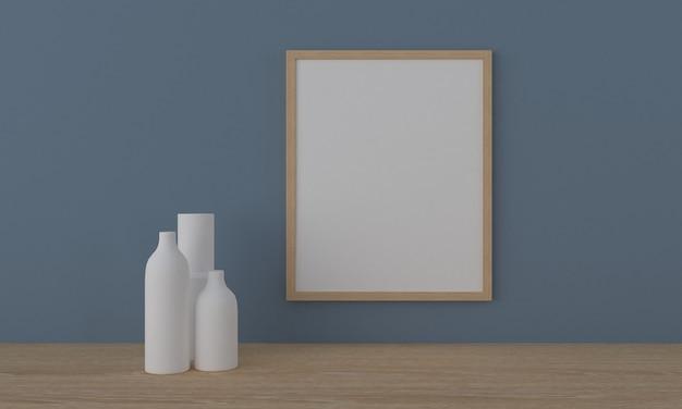 Holzrahmenmodell mit weißen vasen