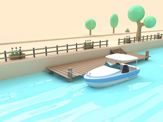 Holzreflexion des blauen wassers der weißen blauen schnellbootkarikaturart-hafenbrücke 3d