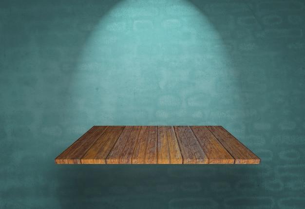Holzregal auf einer blauen wand