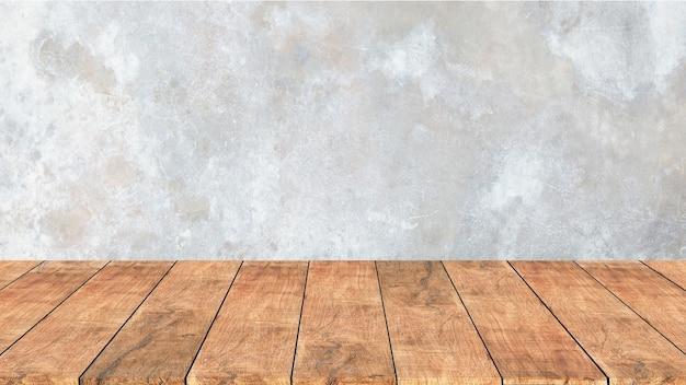 Holzregal mit altem zement. betonwandhintergrund