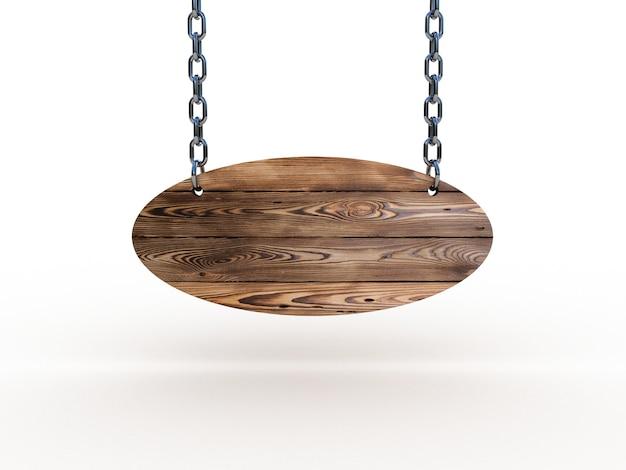 Holzschild an ketten hängen