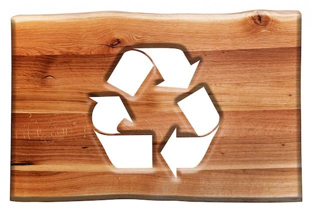 Holzschild mit dem symbol wiederverwertbar