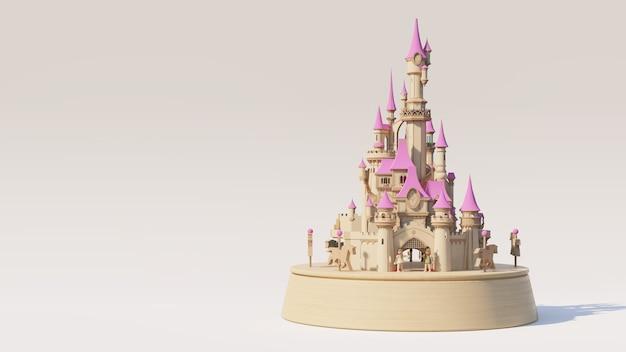 Holzschloss spieluhr glückliches konzept, 3d-rendering