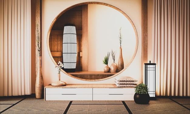 Holzschrank in einem seltenen altmodischen raum, der die atmosphäre widerspiegelt. 3d-rendering