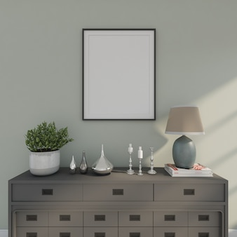 Holzschreibtisch mit bilderrahmen und kleinem baum. 3d-rendering