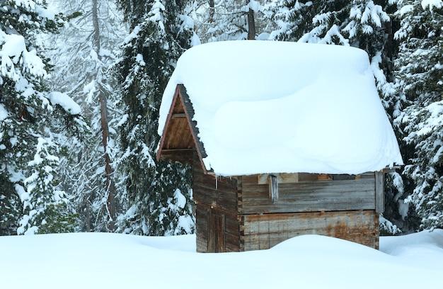 Holzschuppen mit schneewehe auf dem dach im wintertannenwald