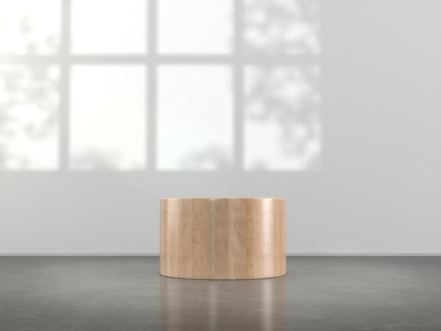 Holzsockel für produkt, das leer angezeigt wird.