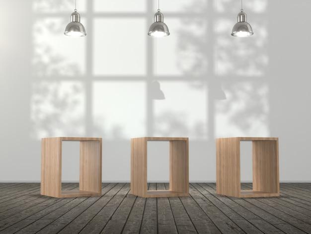 Holzsockel für produkte, die leer angezeigt werden.