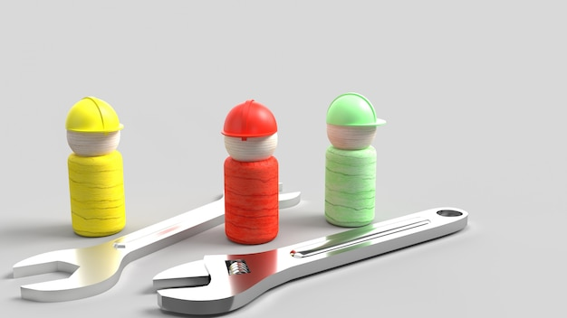 Holzspielzeug und schraubenschlüssel auf blauem 3d-rendering für arbeitstaginhalt