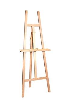 Holzstaffelei für künstler. steh für ein bild. auf weiß, isoliert
