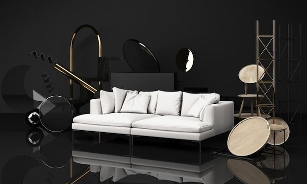 Holzstruktur der stühle und des couchtischs mit sofa