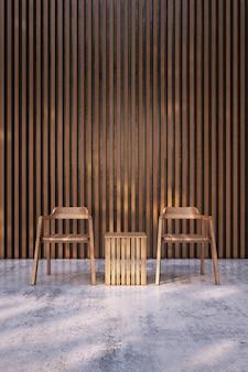 Holzstuhl auf nacktem betonboden mit hölzernem lattenwandhintergrund.