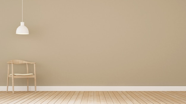 Holzstuhl im minimalen design des studios - wiedergabe 3d