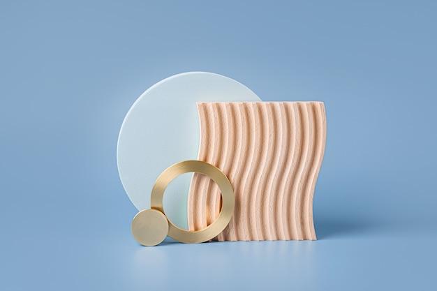 Holzteller mit wellen und runden geometrischen formen auf blauem hintergrund