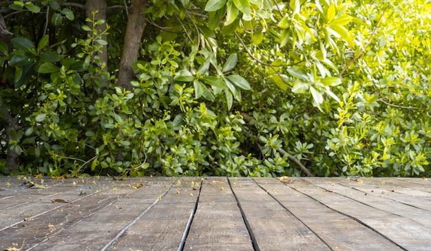 Holzterrasse mit baumwald und busch im frühling sonnigen tag