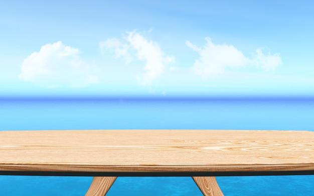 Holztisch 3d, der heraus zu einem blauen ozeanlandschaftshintergrund, produktdarstellung schaut