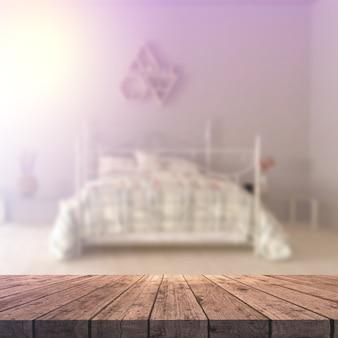 Holztisch 3d, der heraus zu einem defocussed schlafzimmerinnenraum schaut