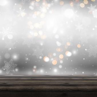 Holztisch 3d, der heraus zu einem defocussed weihnachtshintergrund schaut