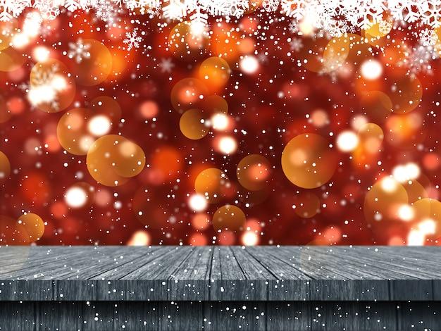 Holztisch 3d, der heraus zu einem weihnachtsschneeflockenhintergrund schaut