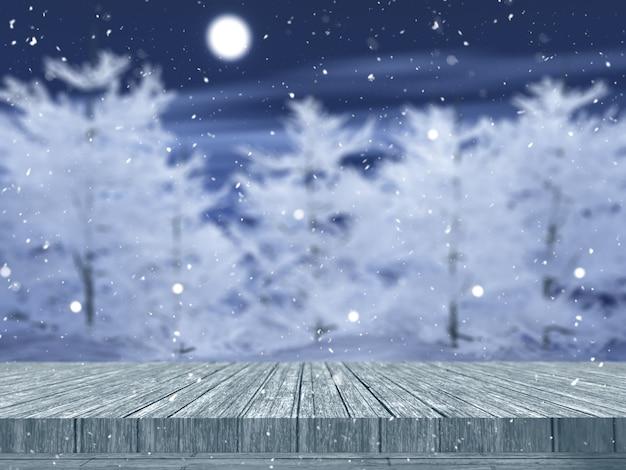 Holztisch 3d, der heraus zu einer schneebedeckten baumlandschaft schaut