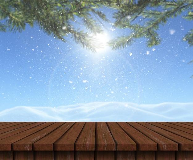 Holztisch 3d, der heraus zu einer schneebedeckten landschaft schaut