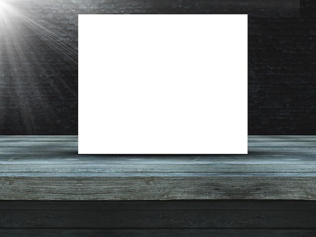 Holztisch 3d gegen eine alte schmutzbacksteinmauer mit leerem segeltuch