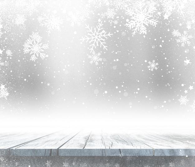 Holztisch 3d mit weihnachtshintergrund