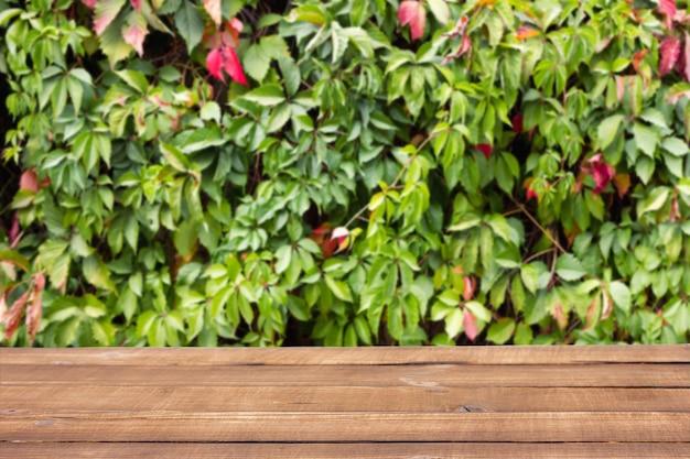 Holztisch gegen grüne blätter, natürlicher frühlingshintergrund