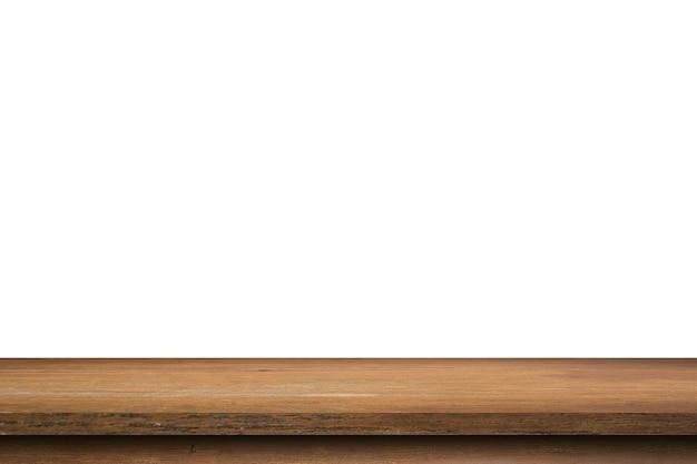 Holztisch isoliert auf weißem hintergrund