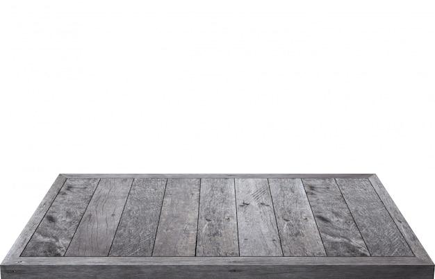 Holztisch lokalisiert lokalisiert auf weiß