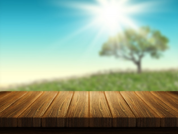 Holztisch mit baumlandschaft im hintergrund