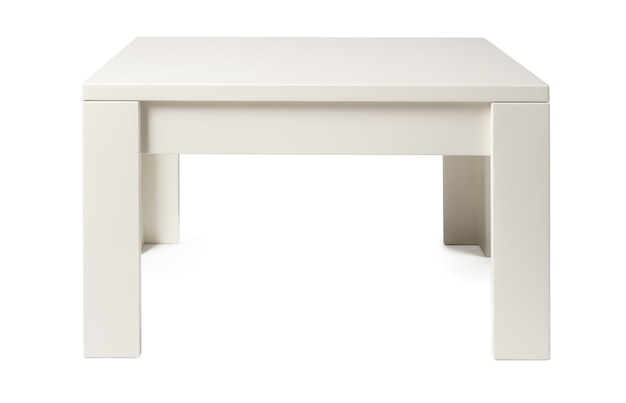 Holztisch mit rechteckiger tischplatte lokalisiert auf weiß