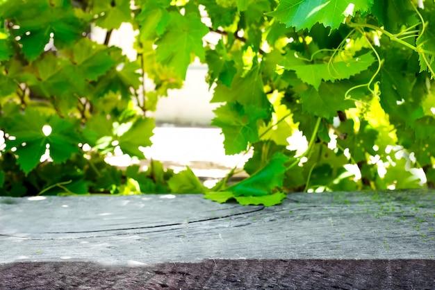 Holztisch mit weinberg