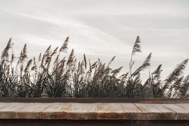 Holztisch vor grünem gras und himmel